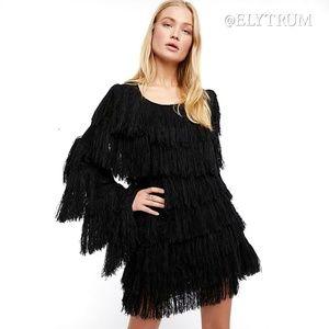 Free People shaggy fringe knit sweater dress